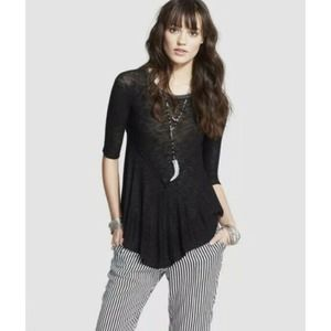 Free People Weekends Layer Black Top Size XS
